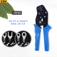 YTH SN-02 Mini Crimping pliers SN-01C/02C/06WF Multifunction crimping plier insuated terminals electrical clamp Hand tools kit crimping plier sn 48b sn 28bs sn 06wf sn 02c with 5 jaw for terminals d1b stripping wire cutters electric calmp hand tools