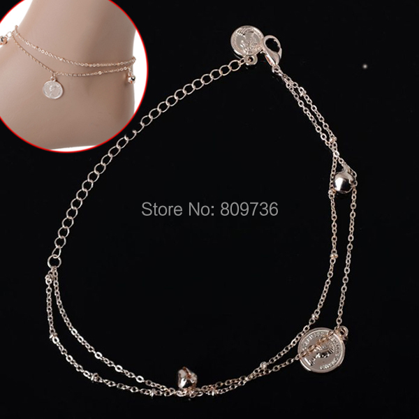 NEW Designer GOLD Tone Chain Silver Tone Flowers Anklet