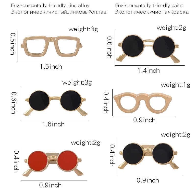 Sven Kacamata Kacamata Hitam Keren Pin Geometris Bulat Kacamata Berwarna Hitam Enamel Bros Kemeja Tas Kerah Pin Lencana Wanita Pria Perhiasan
