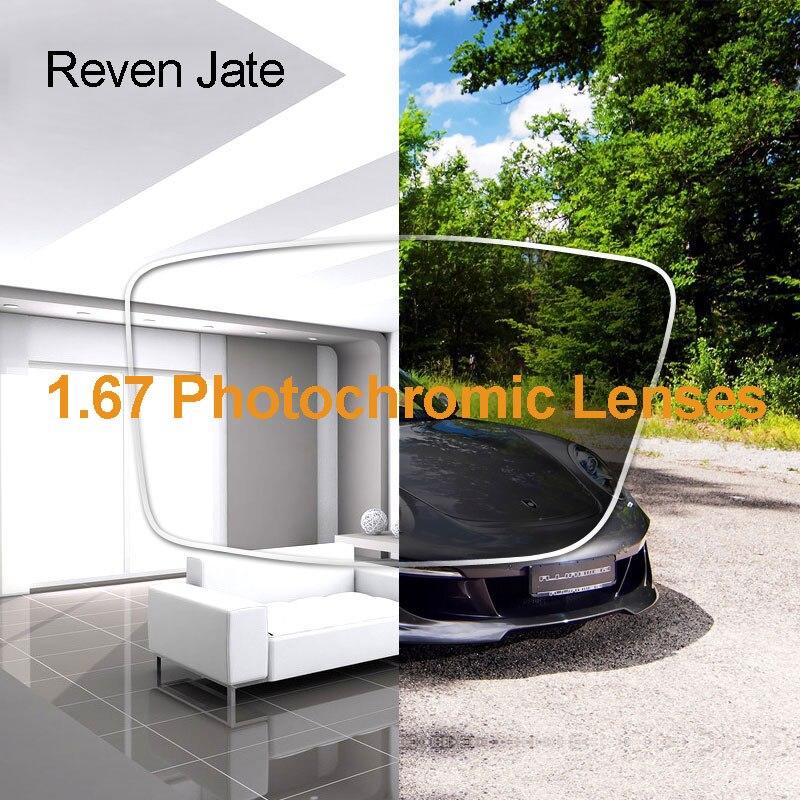 Reven Jate 1.67 Photochromic Mudança de Cor Única Visão Lentes de Prescrição Óptica Lente Rápida Mudança Durante a Luz Solar Forte