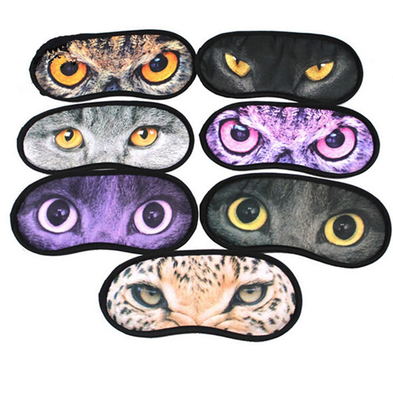 1Pc Health Tool Set For Sleep Eye Mask Sleeping Travel Wild Animal Print Black Back Blindfold Cover Eye Eyeshade
