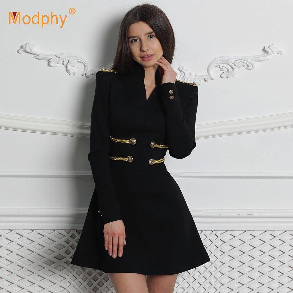 2019 printemps nouvelle robe lacée noir rouge vert des femmes sexy à manches longues Col V Un mot mini robe celebrity tenue de fête Robes