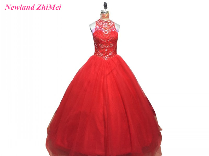 Hot Red Crystal Quinceanera Dresses 2017 Ball Gown High Neck Tulle Lace up Sweet 16 Dress Custom Made
