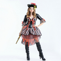 Free shipping Halloween pirates women's Cosplay games characters European and American retro style pirates costumes for adult
