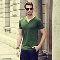 Summer 2017 Men's Casual Solid Short Sleeve Double-button Placket V-Neck T-Shirts Comfort Soft Slim Fit Elastic Cotton T-Shirt