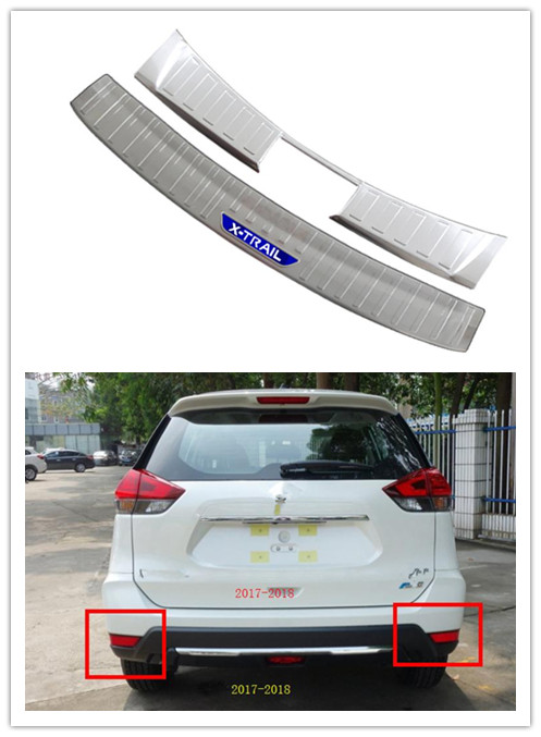 X-TRAIL Stainless Steel Chrome Rear Bumper Protector Scratch Guard 2014-2017 T32