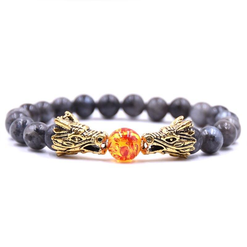 HYHONEY 8MM Natural Stone Beads Bracelet For Men bileklik Men Jewelry Dragon pulseras 17