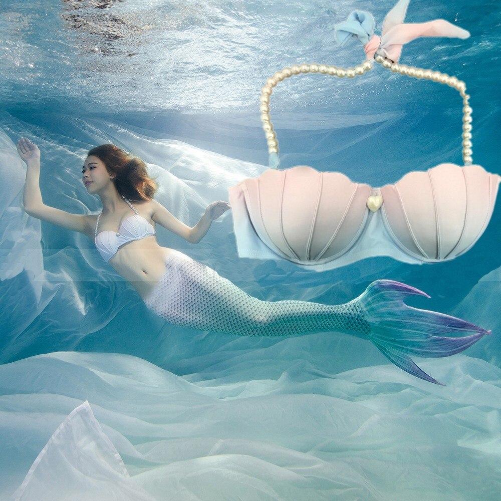 Woman Mermaid Tail Bra Swimming Cosplay Bikini pearl shell Bra For Woman Girls Mermaid cosplay costume