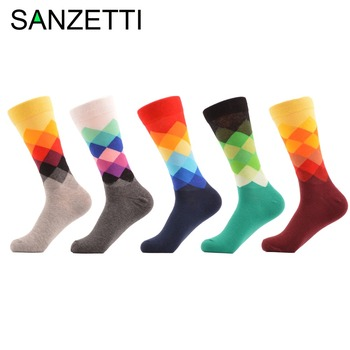 SANZETTI 5 pair/lot Men's Argyle Colorful Socks Happy Socks Rhombus Combed Cotton Socks