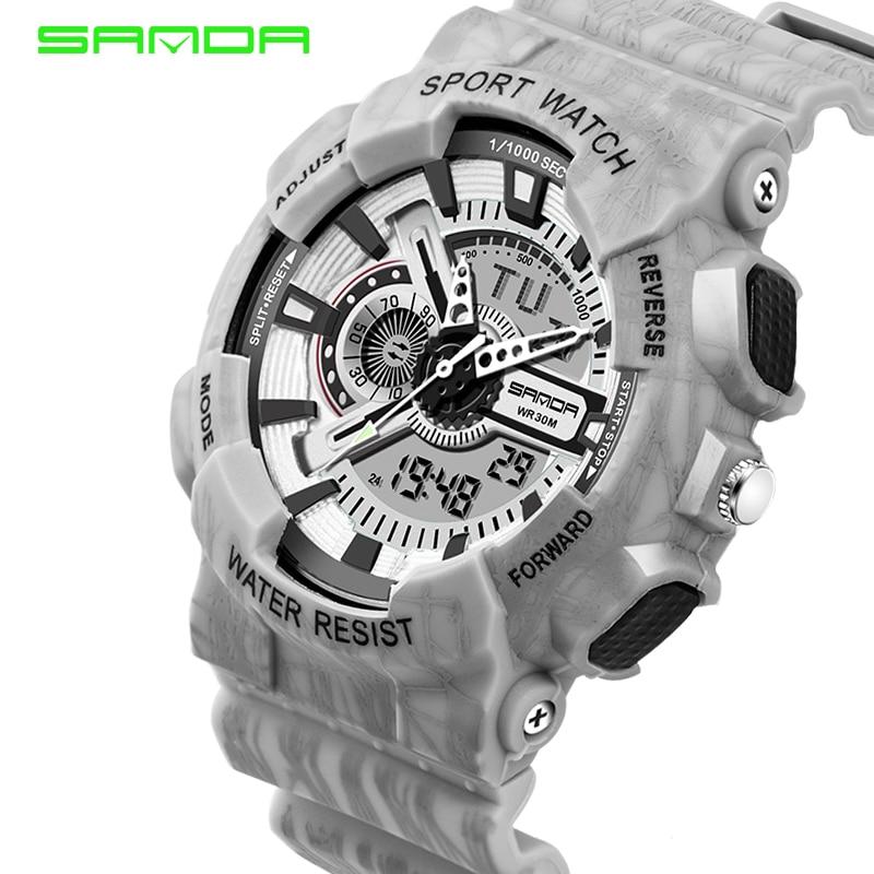SANDA Luxury Brand Watch Men Fashion Sports Watches LED Waterproof Electronic Stopwatch Military Watch Digital Alarm