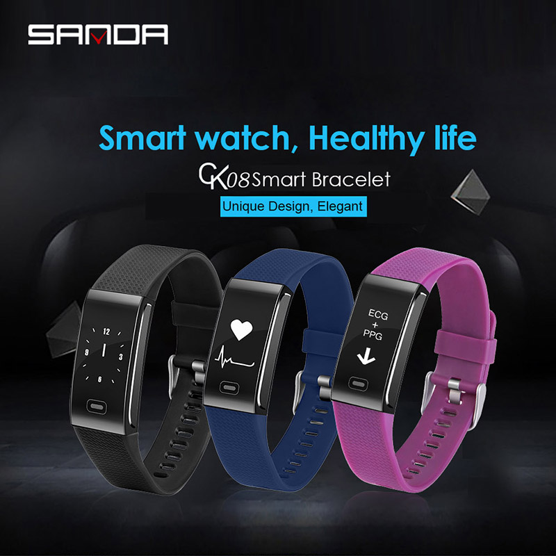2019 New SANDA smart watch concise style bluetooth step gauge sports watch heart rate sleep monitoring multifunction bracelet in Digital Watches from Watches