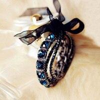 Fashion Vintage Multilayer Round Dark Blue Glass Crystals Bead Stretch Bracelet With Black Silk Ribbon Elegant