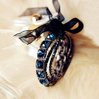 Fashion Vintage Multilayer Round Dark Blue Glass Crystals Bead Stretch Bracelet With Black Silk Ribbon elegant Women Jewelry