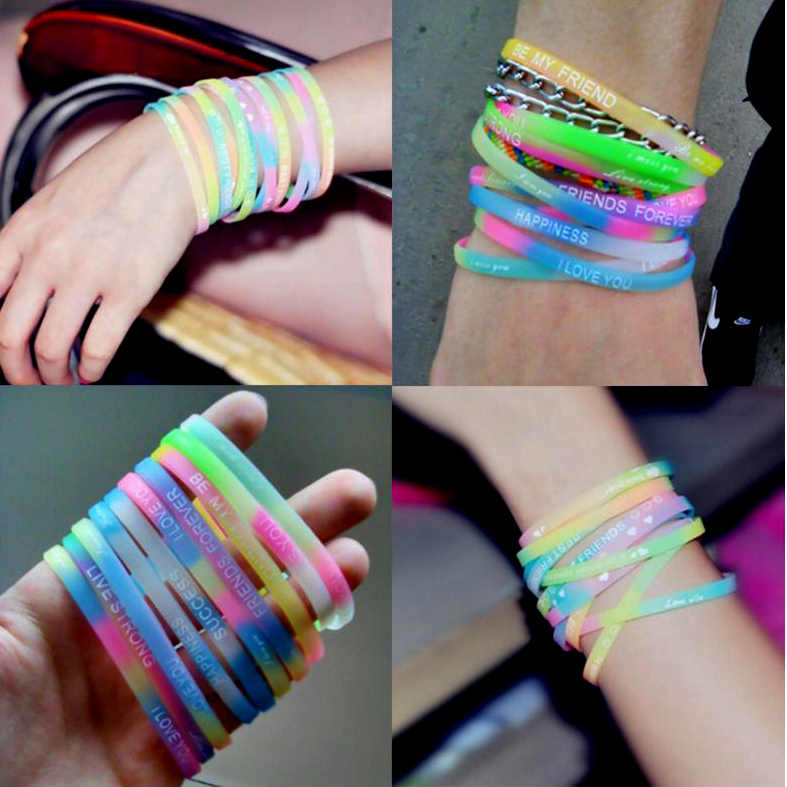 5pcs Women Silicone Bracelet Lucky Letter Sports Casual Wristband Band Gifts For Girls Luminous Rubber Bracelet Accessories
