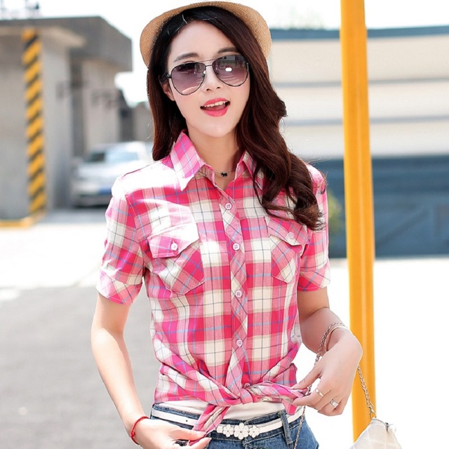 3XL 2017 New Arrival Student Women Plaid Shirt Casual Short Sleeve Red Fashion Blouse Plus Size 100% Cotton Tops Ladies Clothes