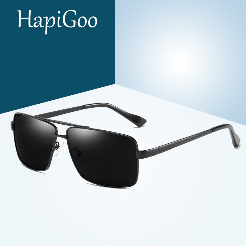 HAPIGOO Men Square Polarized Sunglasses Brand Design Anti-Reflective Blue Coating Lens Vintage Driving Sun glasses Male Shades