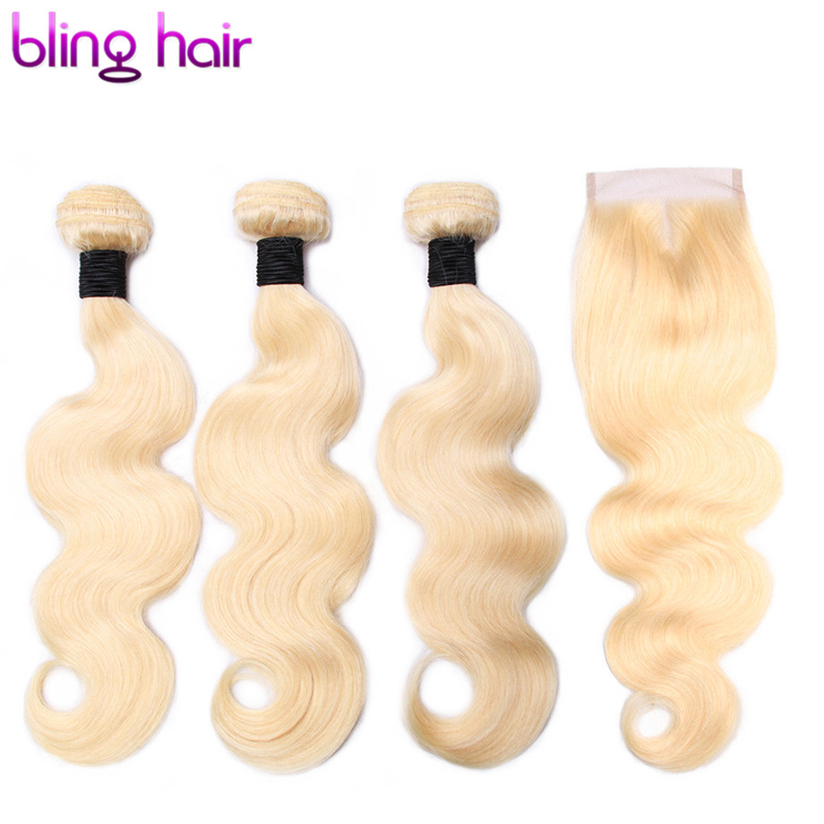 Bling Hair Pre colored Body Wave Bundles with Closure 4 4 Free Part Brazilian Hair 613