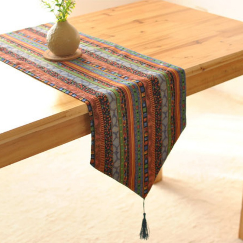 Boho Style Tassels Table Runner Table Cloth Dining Table Mat Coffee Pads Home Decoration Table Cover Home Textile