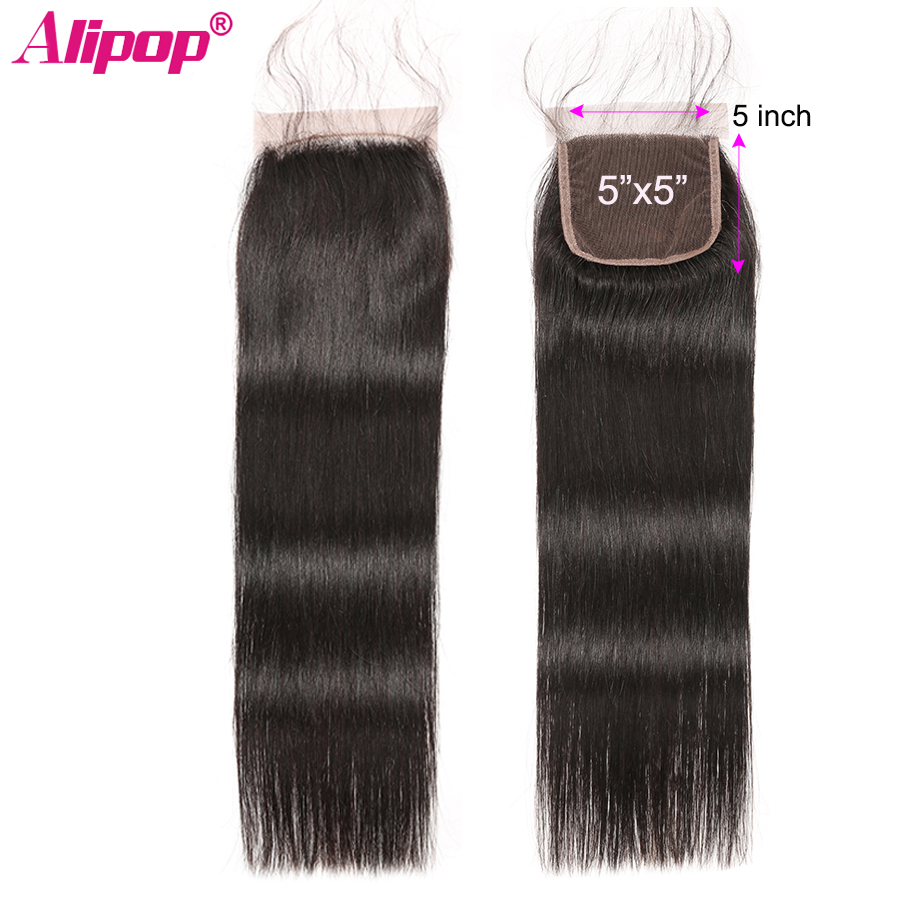 5x5 Lace Closure Brazilian Hair Straight Human Hair Closure Bleached Knot Free Part With Baby Hair Swiss Lace ALIPOP Remy Hair