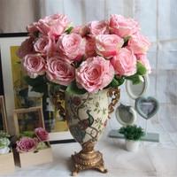 Kunstbloem 7 bloem hoofd keizer rose hoge kwaliteit bruiloft decoratie zijde bloem hotel hotel woonkamer fake bloem
