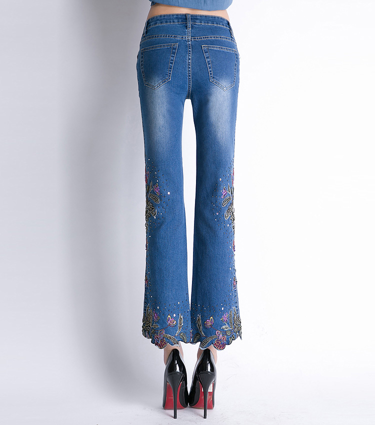 KSTUN FERZIGE Women Jeans High Waist Stretch Floral Embroidered Flares Bell Bottoms Hand Beading Slim Fit Boot Cut Ankle-length Pants 24