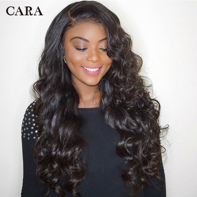CARA Wigs Human-Hair Glueless Full-Lace Wave Brazilian with Pre-Plucked Loose