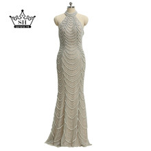 Sexy Backless Halter Gray Mermaid Long Evening Dresses 2017 Real Picture Luxury Crystal Beaded Lace Dubai Robe De Soiree