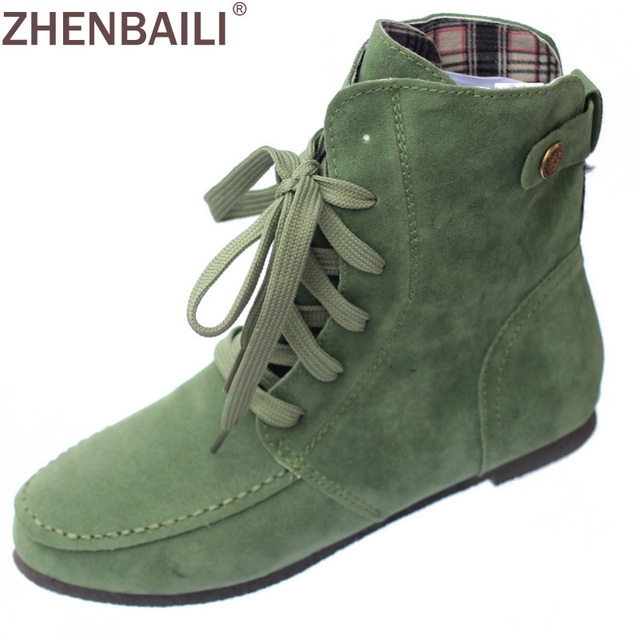 flat fashion women's martin ankle winter boots artificial suede