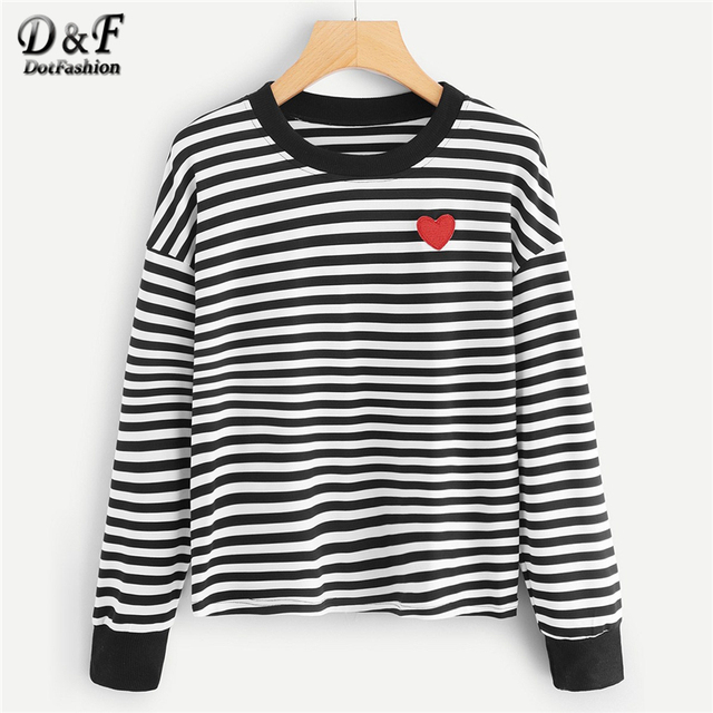 382aa90ca86 Dotfashion Black And White Heart Embroidery Striped Tee Women Casual Spring  Autumn Tops Round Neck Long Sleeve Clothing T-Shirt