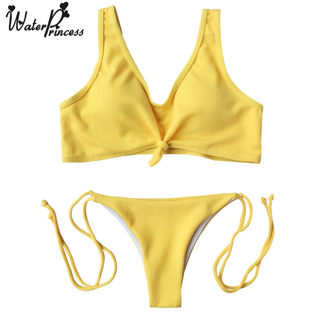05e9cc101a Water Princess Summer Ribbed Knot push up new bikini sexy swimsuit bathing  suit women yellow Brazilian thong biqiunis swimwear