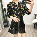 2017 Fashion Women Shirts Cute Birds Pattern Print Blouses Long Sleeve V Neck Vintage Spring Casual Tops Feminine Blusas 2 Color