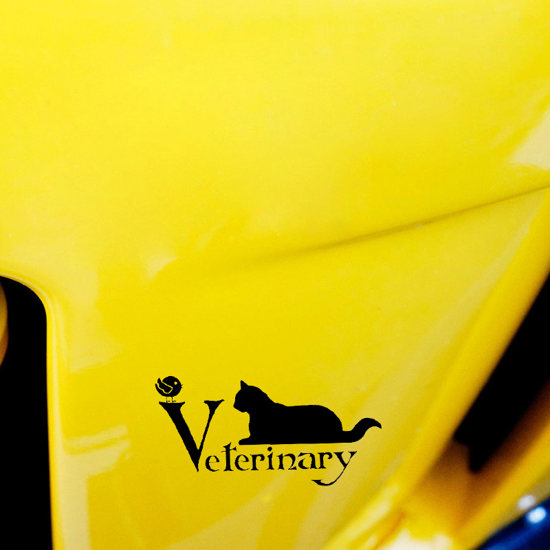 YJZT 14.3CM*7.4CM Veterinary Animal Decal Pet Decal Cat Vinyl Car Sticker Black Silver C10-02379