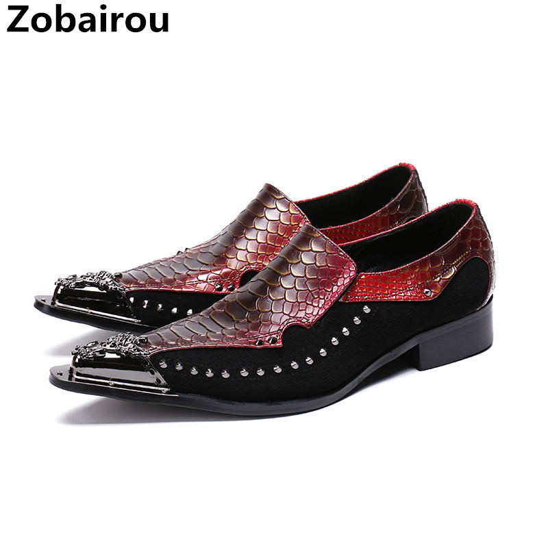 все цены на Red blue wedding party spiked loafers stud oxford shoes for men slipon loafers metal toe men formal shoes zapatos hombre vestir онлайн