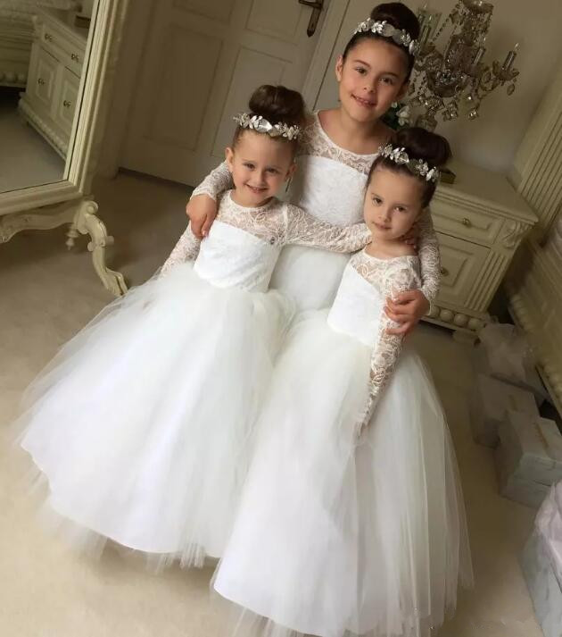 White Ivory Puffy Flower Girls Dresses for Wedding Lace Long Sleeves Girls First Communion Gown Any Size new white ivory flower girl dresses for wedding 3d flowers puffy tulle with big bow girls first communion gowns