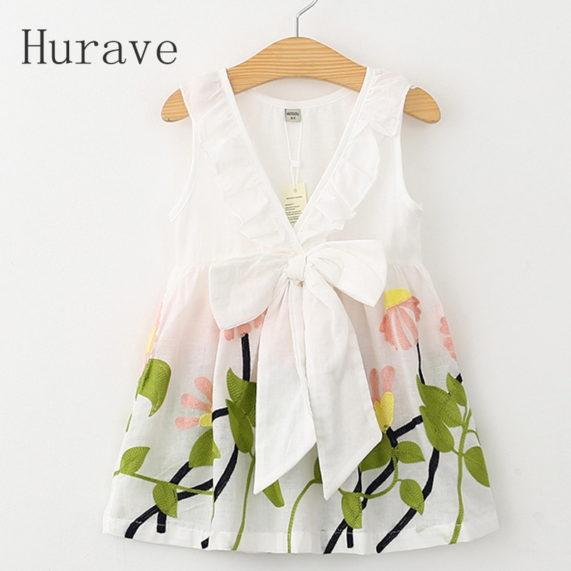 Hurave Girl Dress Floral Print 2018 Summer Dress Girls V neck Embroidered Vest Children Cloth Toddlers Infant Vestidos Menina simple women s dolman sleeves floral embroidered dress
