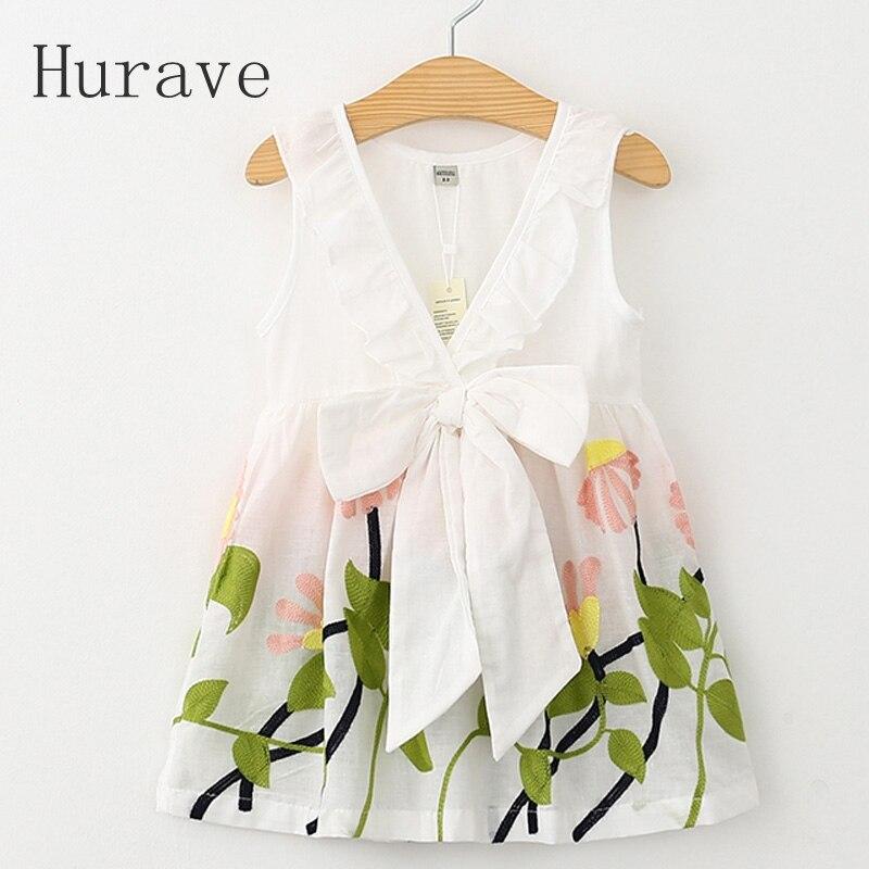 Hurave vestido da menina floral impressão 2019 vestido de verão meninas v pescoço bordado colete crianças pano infantil vestidos menina