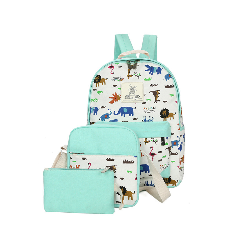 3pcs/set women backpacks High quality printing canvas children school bags for girls tee ...