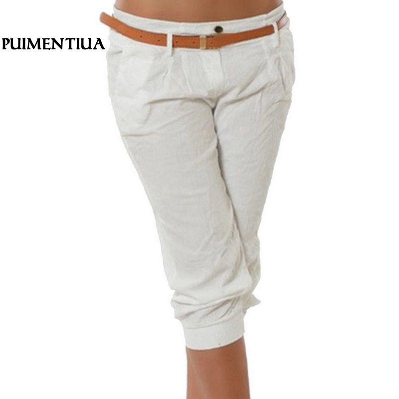 Puimentiua Women's Fashion Cotton Linen Short   Pants     Capris   Casual Solid Elastic Waist Female Skinny Pencil   Pants   Plus Size