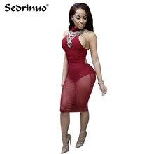 2016 Yaz Seksi kırmızı mesh elbise bandaj Elbiseler Seksi Kulübü elbise backless bodycon Gece Kulübü Giyim Parti Elbise Vestido De Festa