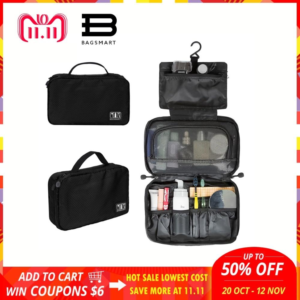 BAGSMART Nylon Portable Toiletry Bag Travel Hanging Toiletry Cosmetic Bag Carry-on Cosmetic Bag Makeup Bag Pack Luggage Suitcase travel luggage bag tri glide button black 10 piece pack