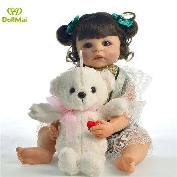 55cm Full Silicone Vinyl Reborn Baby Girl Doll Realistic Princess Newborn Bebe doll reborn Children Birthday Gift Play House toy
