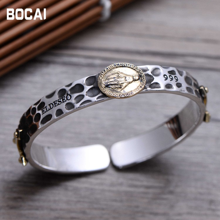 S999 sterling silver jewelryThai silver Virgin Mary, opening, men and women bracelet 057402 s999 sterling silver carved peony flower bracelet silver pendant bracelet for women