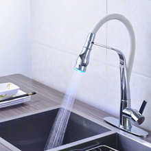 Недавно Прибытия Chrome Польский Вытащить Ванная Кухня Кран Смесителя На Бортике ПРИВЕЛО Кухонный Кран
