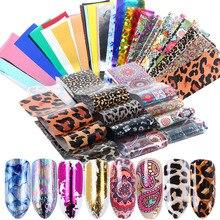50 Uds. Láser holográfico para uñas, pegatinas de transferencia de Metal con flores de leopardo, adhesivos de lámina brillante, deslizador de cielo estrellado, decoración, calcomanía JI1032