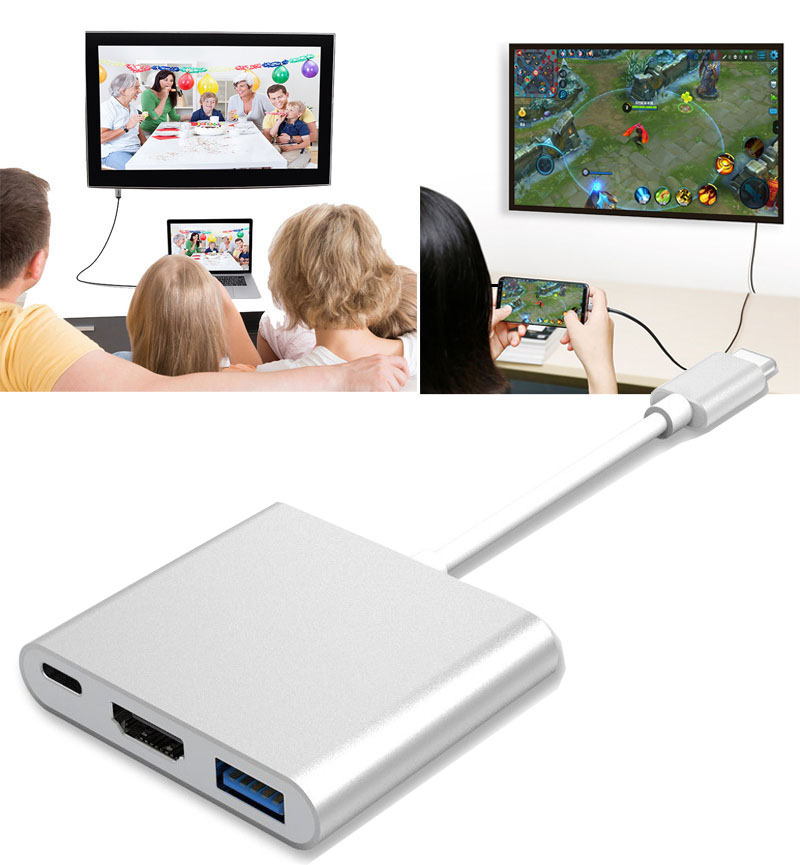 3in1 USB 3.1 Type C Hub DP USB C to USB 3.0 HDMI TV Projector Audio Video Converter Type C Female Charging Adapter for Macbook usb type c to hdmi uhd 4k adapter high speed usb3 0 hub converter with pd charging ports for macbook projector hdtv