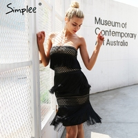 Simplee Sexy Strapless Tassel Party Dresses Women Off Shoulder Hollow Out Vintage Mini Dress Streetwear Christmas