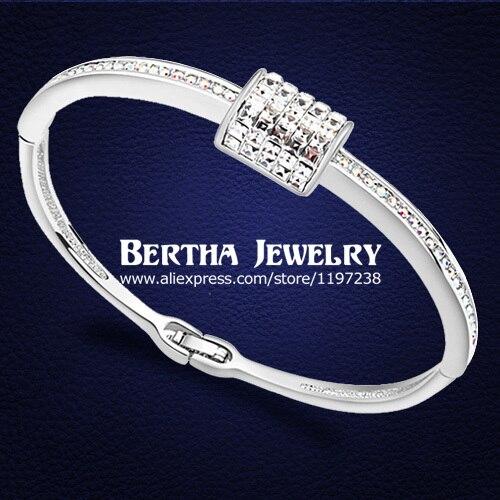 46e68e980b4c 2017 nueva marca de moda para las mujeres cristales de Swarovski botón  Brazaletes bijoux charm joyería alta calidad
