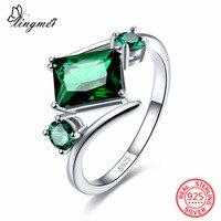 Lingmei Neue Ankunft Rechteck & Round Cut Rosa & Green CZ 925 Sterling Silber Ring Größe 6 7 8 9 Luxus Elegante Frauen Schmuck