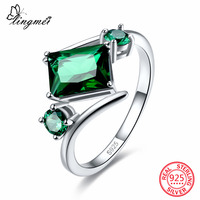 Lingmei New Arrival Rectangle Round Cut Pink Green CZ 925 Sterling Silver Ring Size 6 7