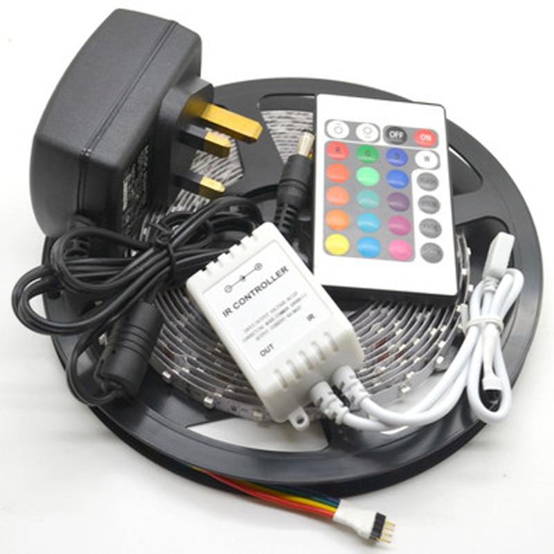 5M 3528 No-Waterproof SMD LED Strip 300 leds 5m 3528 rgb led +24keys controller+12v2a Power adapter waterproof 300 3528 smd led rgb flexible strip w 24 key controller 12v 5m